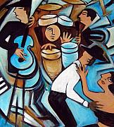 Bar Scene Paintings - Salsa Night by Valerie Vescovi