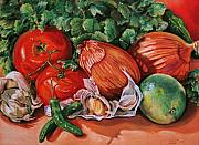 Hot Peppers Pastels Prints - Salsa Print by Outre Art Stephanie Lubin Natalie Eisen