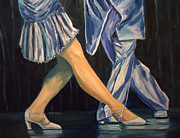 Beat Painting Posters - Salsa Stepping Poster by Julie Brugh Riffey