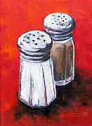Pepper Painting Metal Prints - Salt and Pepper on Red Metal Print by Torrie Smiley
