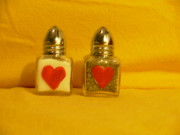 Hearts Glass Art - Salt and Pepper Shakers by Sophia Landau