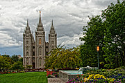 Salt Lake City Temple Posters - Salt Lake City Temple Grounds Poster by La Rae  Roberts