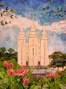 Church Mixed Media - Salt Lake City Temple by Robin Birrell