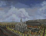 Church Painting Originals - Salt Lake City Temple Square Nineteen Twelve Left Panel by Jeff Brimley