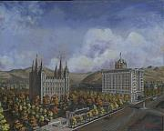 Saints Paintings - Salt Lake City Temple Square Nineteen Twelve Right Panel by Jeff Brimley