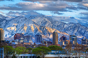 Snowy Night Photo Prints - Salt Lake City Utah USA Print by Utah Images