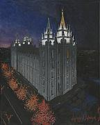 Church Painting Originals - Salt Lake Temple Christmas by Jeff Brimley
