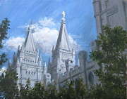 Salt Lake Painting Prints - Salt Lake Temple Print by Nik English