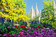 Salt Lake Temple Prints - Salt Lake Temple Petunia Print by La Rae  Roberts