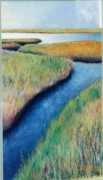 Salt Pastels Prints - Salt Marsh Horizon Print by Carl Cerreto