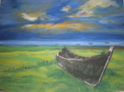 Canoe Pastels Prints - Salt Marsh Retreat Print by Susan Haiken