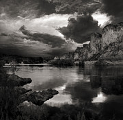 Grey Clouds Posters - Salt River Stormy Black and White Poster by Dave Dilli
