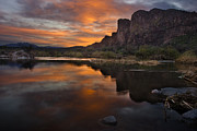 Southwestern Photography Posters - Salt River Sunset Poster by Dave Dilli