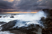 Blowhole Posters - Salt Spray Sunset Poster by Mike  Dawson