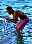 African American Male Posters - Salt Water Poster by Douglas Simonson