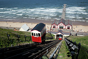Cable Car Framed Prints - Saltburn Funicular Railway Framed Print by Ken Fisher Photography and Training