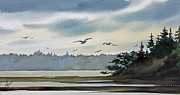 Landscape Greeting Card Painting Originals - Saltwater Bay by James Williamson