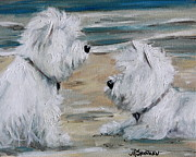 Animals Framed Prints Paintings - Salty Dawgs by Mary Sparrow Smith