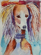 Saluki Framed Prints - Saluki Sparkle Framed Print by Jann Elwood