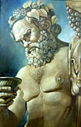 Greek Sculpture Painting Metal Prints - Salutations from Bacchus Metal Print by Geraldine Arata