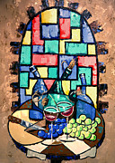 Blue Grapes Mixed Media Prints - Salute Happy Hour In Tuscany Print by Anthony Falbo