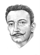 Famous People Drawings - Salvador Dali by Murphy Elliott