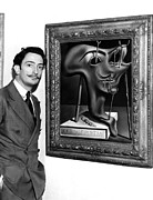 1940s Candid Posters - Salvador Dali, Showing Off His Piece Poster by Everett