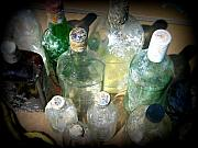 Glass Bottles Posters - Salvaged Bottles II Poster by Mg Rhoades