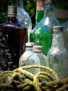 Glass Bottles Posters - Salvaged from the Sea I Poster by Mg Rhoades