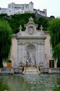 Historic Places Posters - Salzburg Castle with Fountain Poster by Carol Groenen