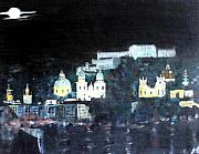 Salzburg Painting Framed Prints - Salzburg in Moonlight Framed Print by Michaela Akers