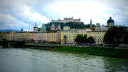 Colorful Buildings Posters - Salzburg over the Danube Poster by Carol Groenen