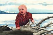 Child Framed Prints - Sam and The Log Framed Print by Sam Sidders