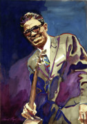 Guitar Player Posters - Sam Lightnin Hopkins Poster by David Lloyd Glover