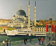 Istanbul Painting Posters - Samantha and Alastair Istanbul Turkey 2010 Poster by Bill White