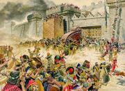 Battlements Prints - Samaria falling to the Assyrians Print by Don Lawrence