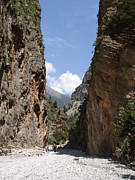 Cliffs Posters - Samaria Gorge Poster by Jane Rix
