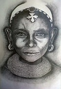Earrings Drawings - Samburu Tribe II. by Paula Steffensen