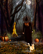 Samhain Digital Art - Samhain Witch by Kami Catherman