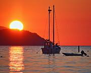 Samish Island Sunset 2 Print by Daryl Hanauer