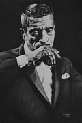 Charcoal Drawings Posters - Sammy Davis Poster by Steve Hunter
