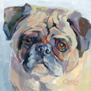 Fawn Pug Paintings - Sammy Sumner by Kimberly Santini