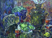 Teapot Paintings - Samovar and Apples by Ivan Filichev