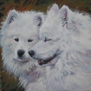 Dog Breeds R-s - Samoyed Conversation by Lee Ann Shepard