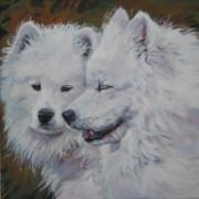 Dog Breeds R-s - Samoyed Conversation by Lee Ann Shepard