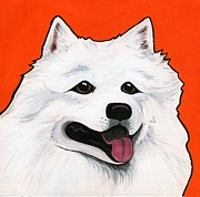 Dog Breeds Paintings - Samoyed by Leanne Wilkes