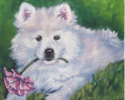 Puppy Paintings - Samoyed pup with peony by Lee Ann Shepard