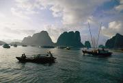 Junks Etc. Photos - Sampans Ply The Placid Waters Of Halong by Steve Raymer