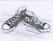 Tennis Drawings Posters - Sams Shoes Poster by Mary Tuomi