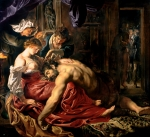 Cutting Paintings - Samson and Delilah by Peter Paul Rubens
